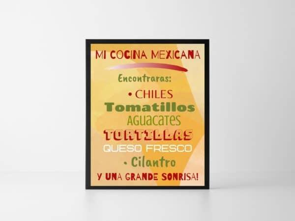 En Mi Cocina Mexicana picture in a frame.