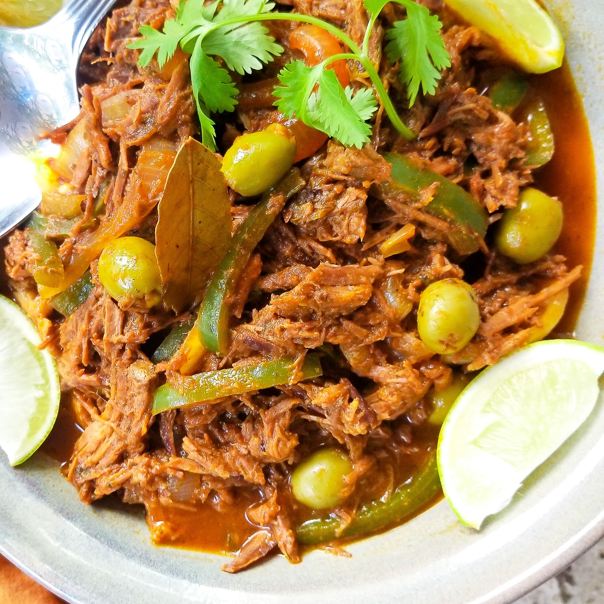 Carne Deshebrada served in a grey dish, topped with cilantro sprigs and surrounded by lime wedges.
