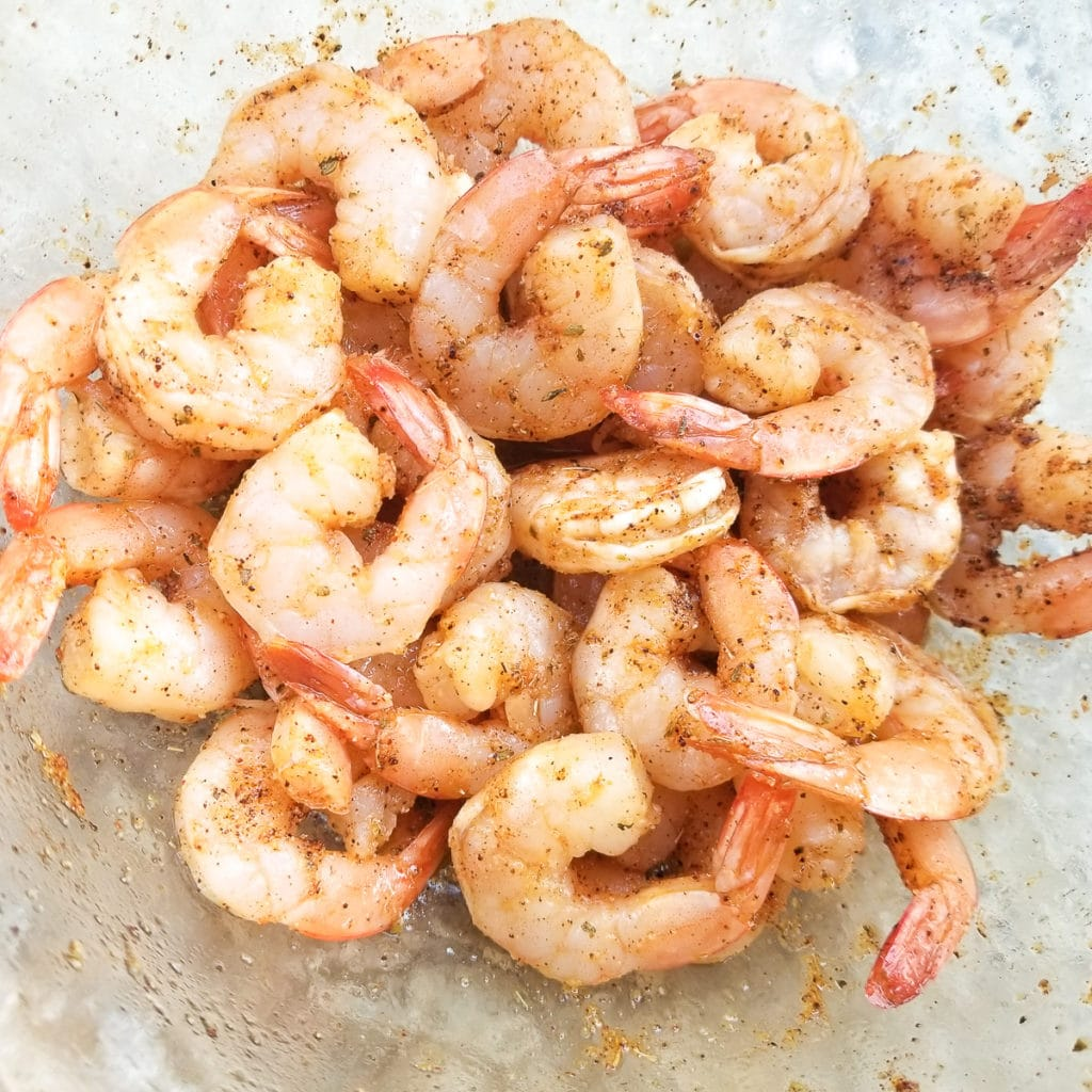 Shrimps marinating in a bowl.