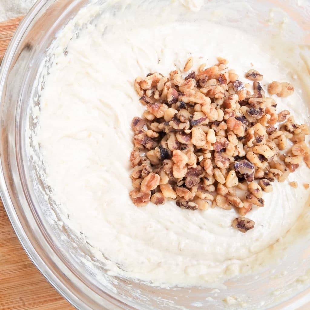 Chopped almonds added to batter for pan de platano (pan d banana) banana bread.