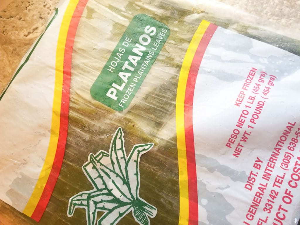 Frozen plantain leaves in original packaging.