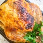 Mexican Style Turkey fully cooked on a baking sheet.