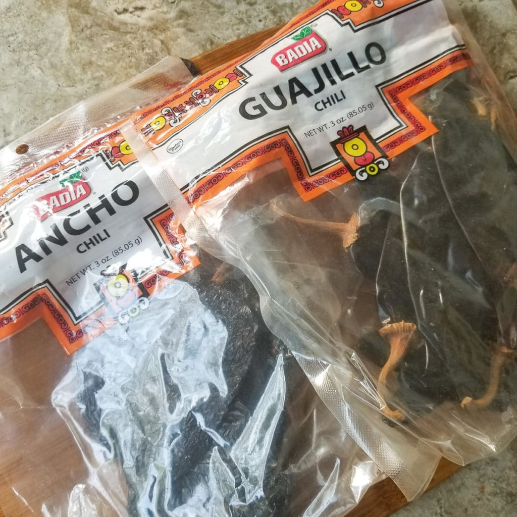 Dried guajillo peppers in packaging.