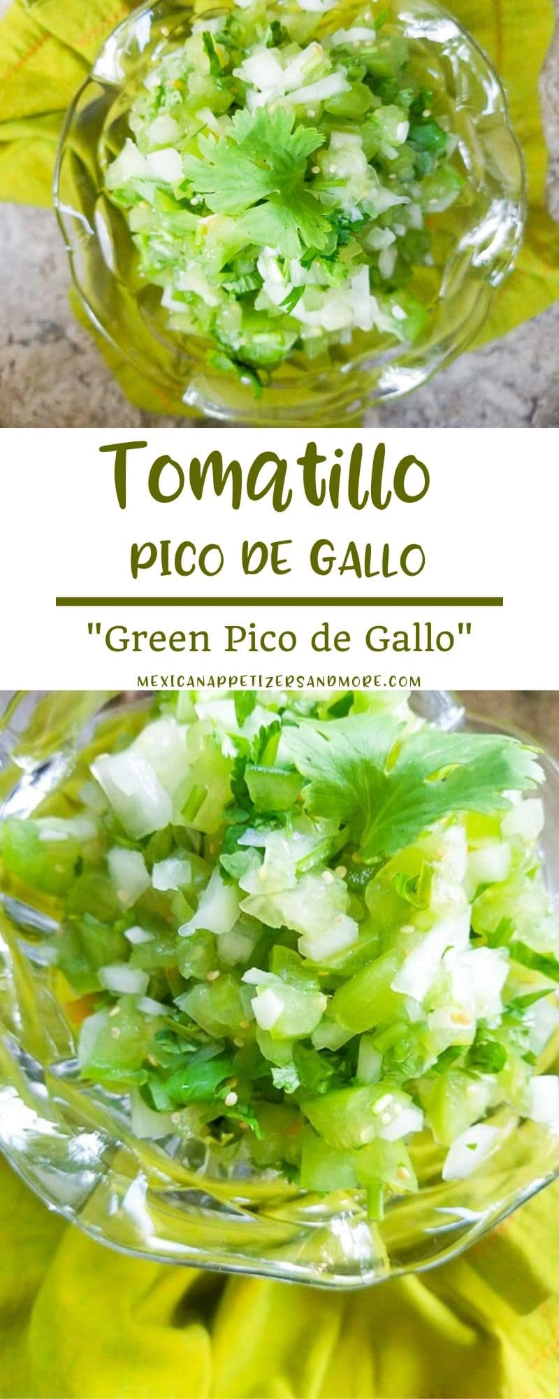 Tomatillo Pico de Gallo is a refreshing salsa that is slightly tart, slightly tangy and perfect simply with tortilla chips but excellent as a topping! Top on everything from fish, shrimp tacos to quesadillas and tostadas. #tomatillosalsa #tomatillorecipes #tomatillopicodegallo #greenpicodegallo #tomatillosauce #picowithtomatillo